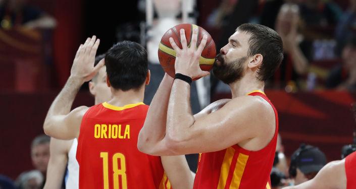 Parte de la selección española minutos antes de ganar el Mundial de baloncesto 2019