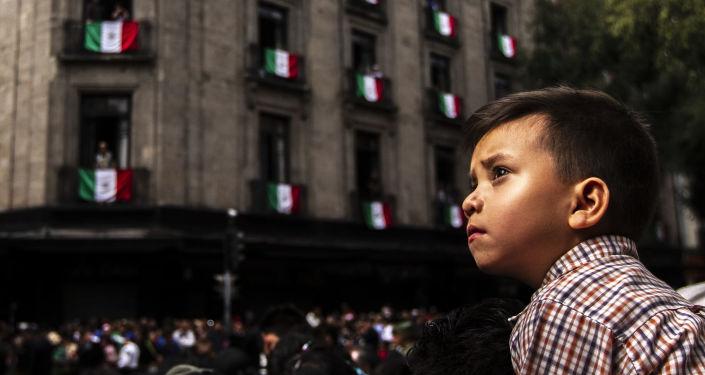 Un niño asiste al desfile militar llevado a cabo desde la Plaza de la Constitución al Campo Marte