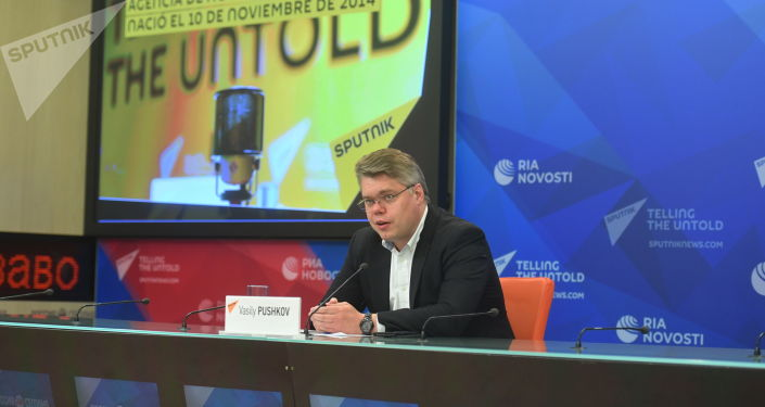 Vasili Pushkov, director del departamento de cooperación internacional de la agencia Sputnik
