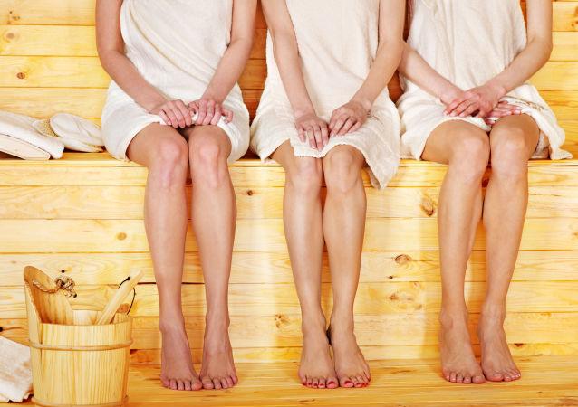 Mujeres en una sauna