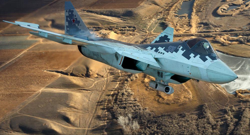 Caza ruso Su-57 con un dispositivo de designación de blancos