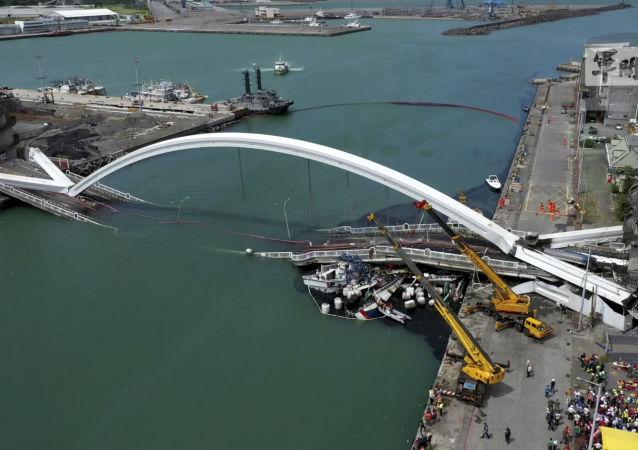 El puente colapsado en Taiwán