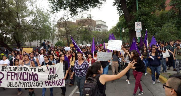 Manifestación por el asesinato de Lesvy Berlin Osorio en la UNAM, México, en 2017