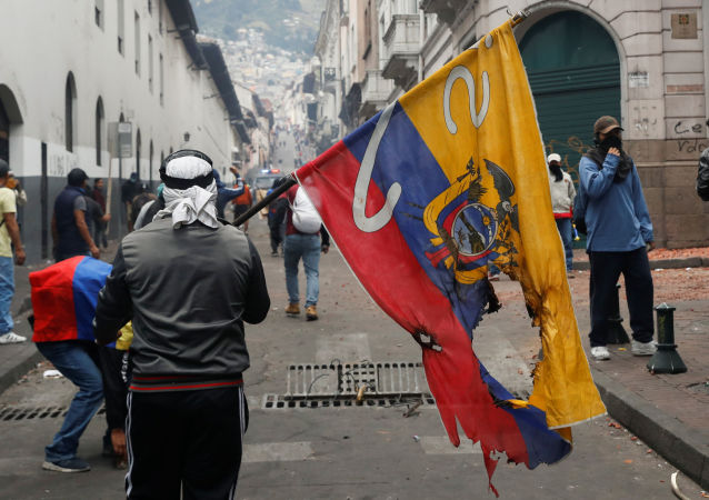 La bandera de Ecuador en manos de un demonstrante