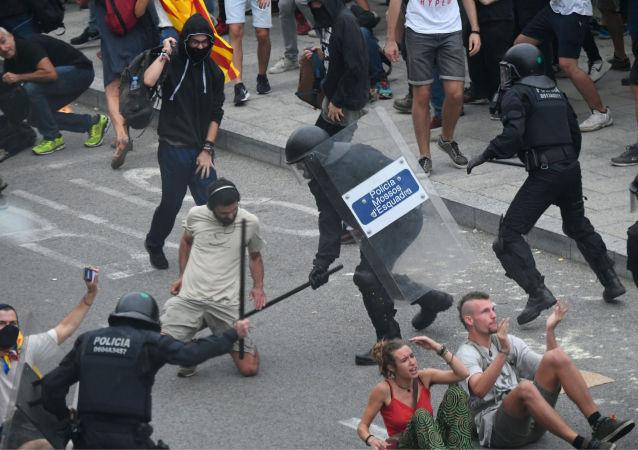Protestas de independentistas catalanes en Barcelona, España