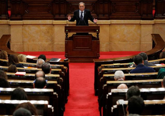 Quim Torra da su discurso en el Parlamento catalán