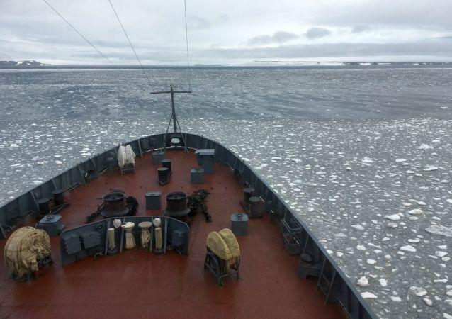 Altái, el barco de la expedición, rompe el hielo en las aguas del archipiélago Tierra de Francisco José
