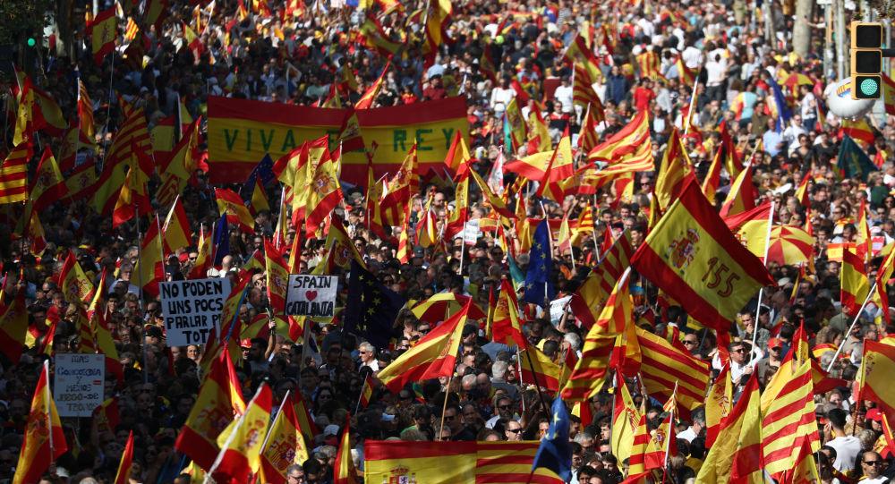 Las protestas antindependencia en Barcelona