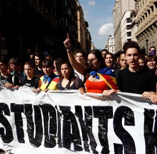 Una huelga de estudiantes en Barcelona (archivo)