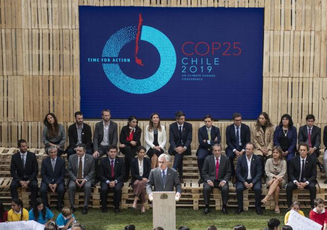Presidente de Chile, Sebastian Piñera, durante el lanzamiento oficial de la COP 25, en Santiago, el 11 de abril de 2019