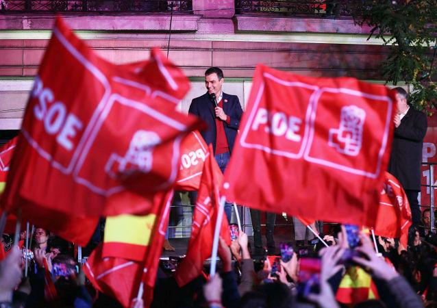 Pedro Sánchez, presidente en funciones español y el líder del PSOE