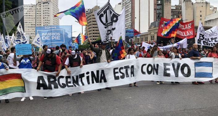 Manifestantes en Argentina se solidarizan con el depuesto expresidente de Bolivia, Evo Morales