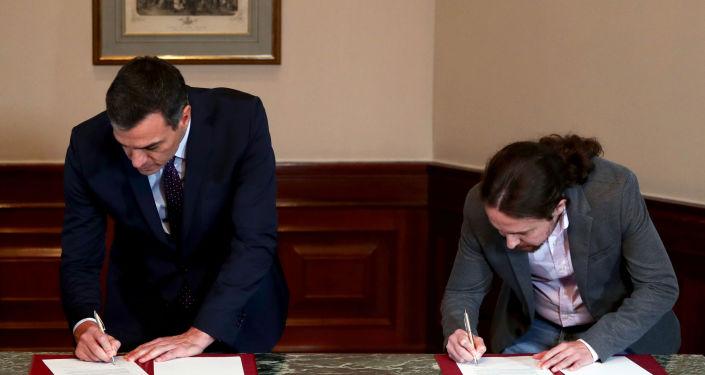 Pedro Sánchez, presidente del Gobierno de España en funciones, y Pablo Iglesias, líder de la coalición izquierdista Unidas Podemos