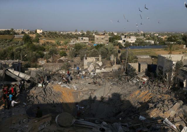 Consecuencias de un bombardeo en la Franja de Gaza