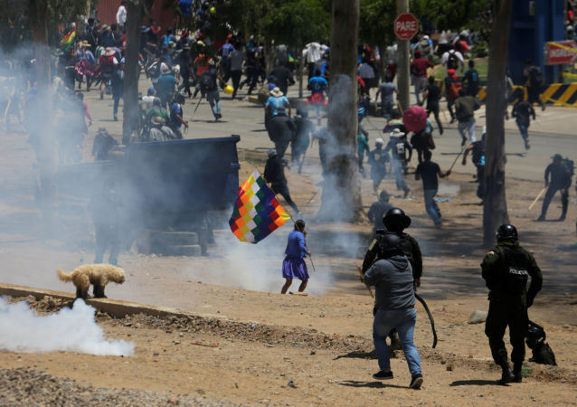 Campesinos cocaleros protestando en Cochabamba, Bolivia