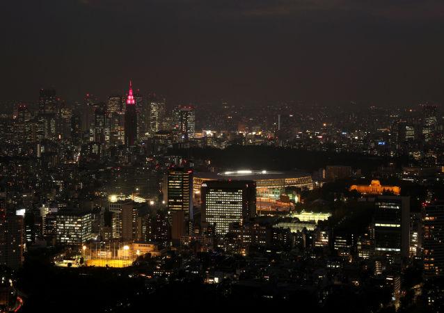 Una vista del estadio olímpico en Tokio