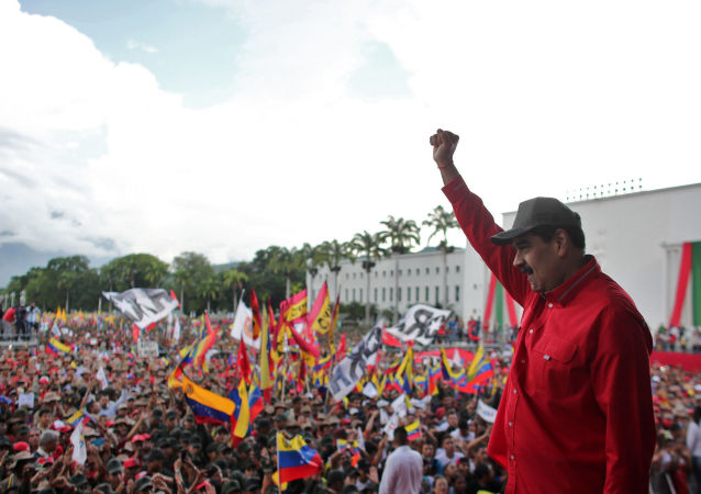 El presidente de Venezuela, Nicolás Maduro, durante una concentración de estudiantes en Caracas