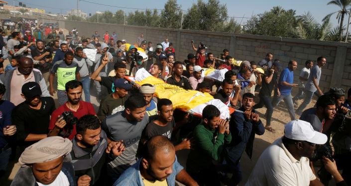 Funeral de los muertos de la familia Sawarka (Abu Malhous), fallecidos  los misiles israelíes
