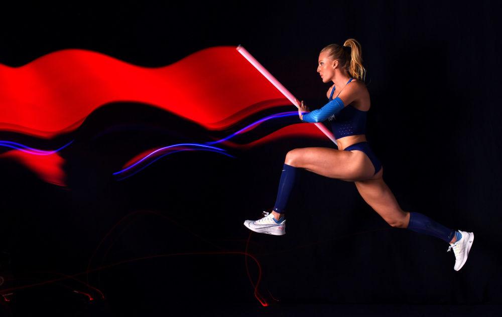 Sandi Morris, saltadora con pértiga estadounidense en Hollywood, California.