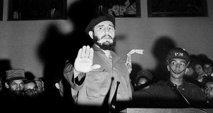 Fidel Castro en su primer viaje a Venezuela tras el triunfo de la Revolución en enero de 1959