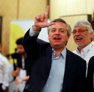 El presidente electo de Argentina Alberto Fernández durante la reunión del Grupo de Puebla en Buenos Aires