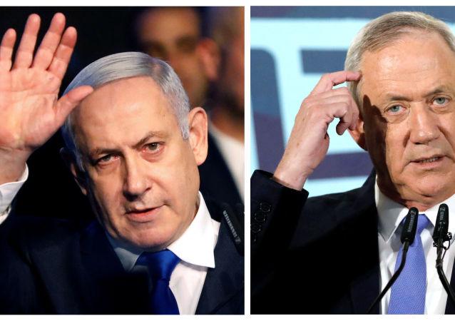 El primer ministro israelí en funciones, Benjamín Netanyahu, y el líder de la coalición Azul y Blanco, Benny Gantz
