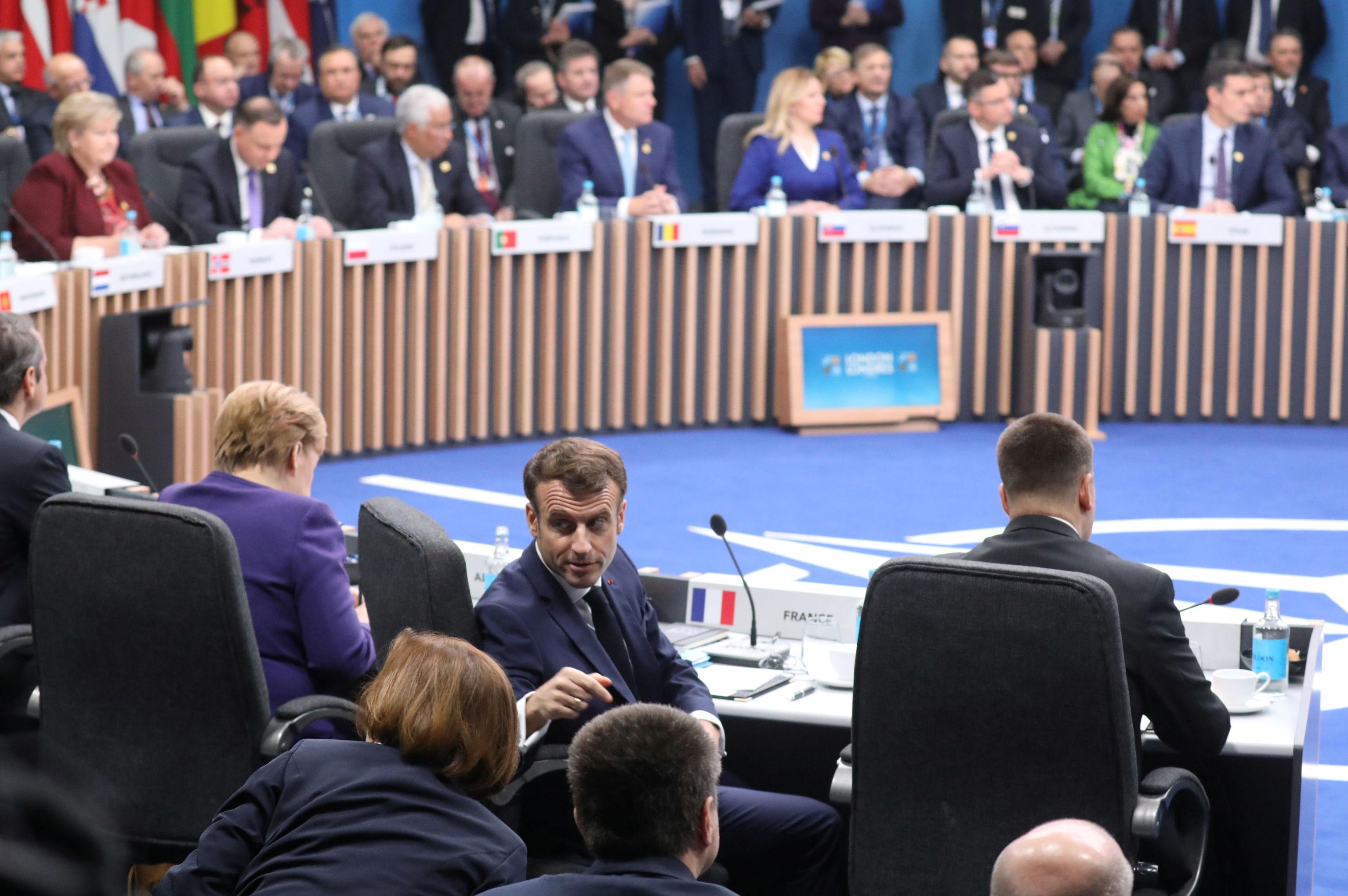 El presidente de Francia Emmanuel Macron durante la Cumbre de la OTAN en Watford, Reino Unido