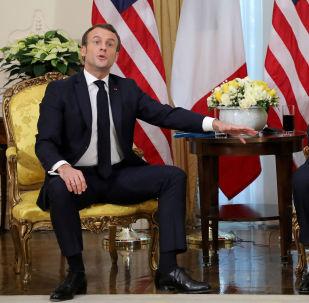 El Presidente de Francia, Emmanuel Macron, en una reunión con el presidente de Estados Unidos, Donald Trump