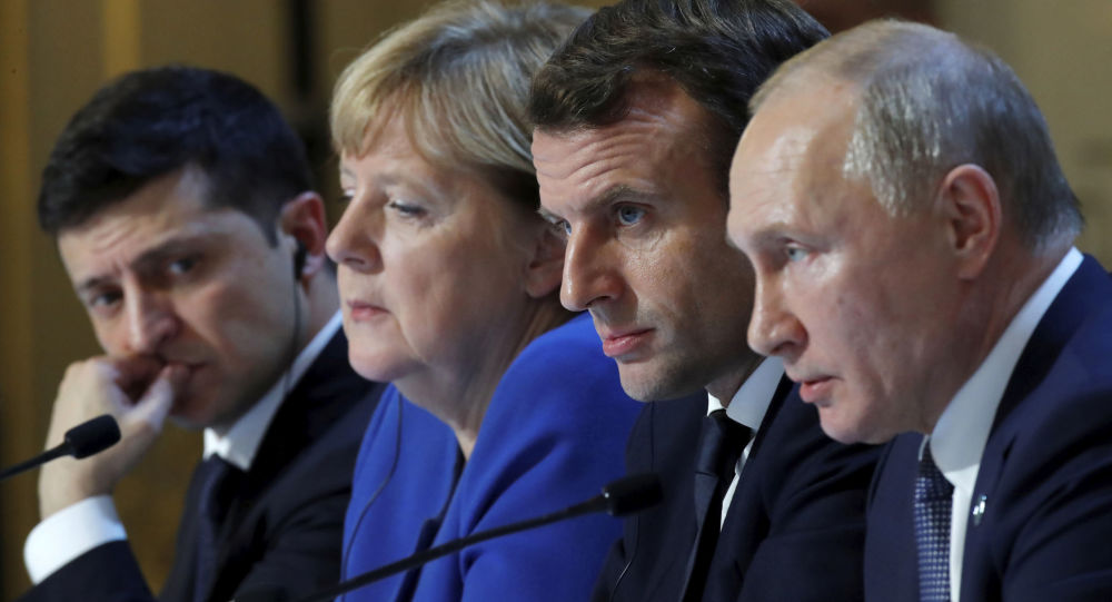 Los líderes del Cuarteto de Normandía: Volodímir Zelenski, Angela Merkel, Emmanuel Macron y Vladímir Putin
