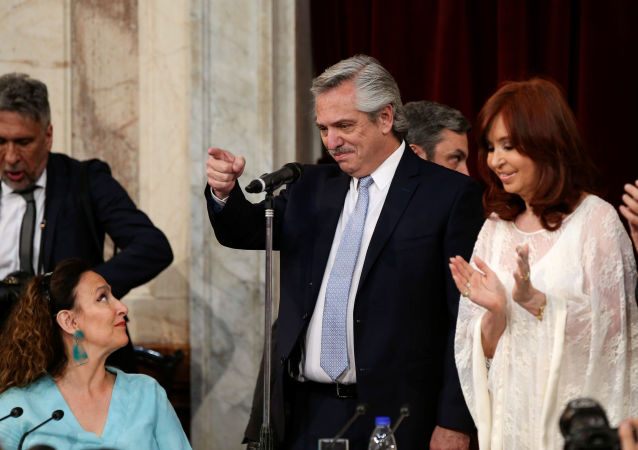El presidente argentino, Alberto Fernández, junto a la vicepresidenta, Cristina Fernández de Kirchner