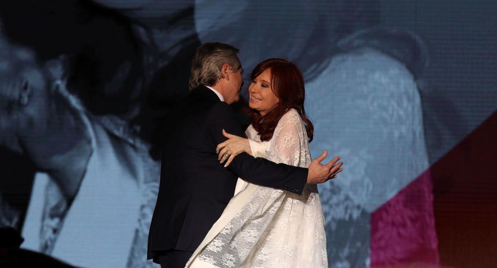 El presidente de Argentina, Alberto Fernández, junto a la vicepresidenta Cristina Fernández de Kirchner