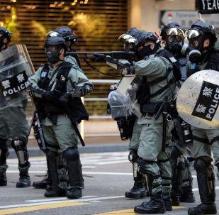 La Policía de Hong Kong durante las manifestaciones