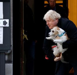 El primer ministro del reino Unido, Boris Johnson, sale de un colegio electoral con su perro Dilyn