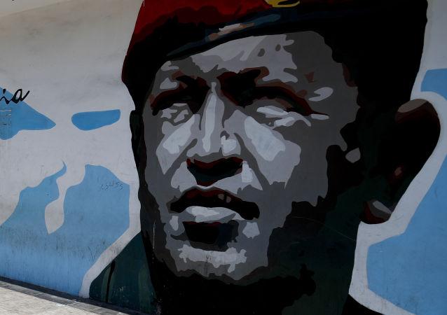 Un grafiti de Hugo Chávez, expresidente de Venezuela