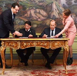 El ministro de Asuntos Exteriores de Rusia, Serguéi Lavrov, con su homólogo nicaragüense, Denis Ronaldo Moncada Colindres