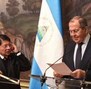 Canciller de Nicaragua, Denis Ronaldo Moncada Colindres, y el canciller ruso, Serguéi Lavrov