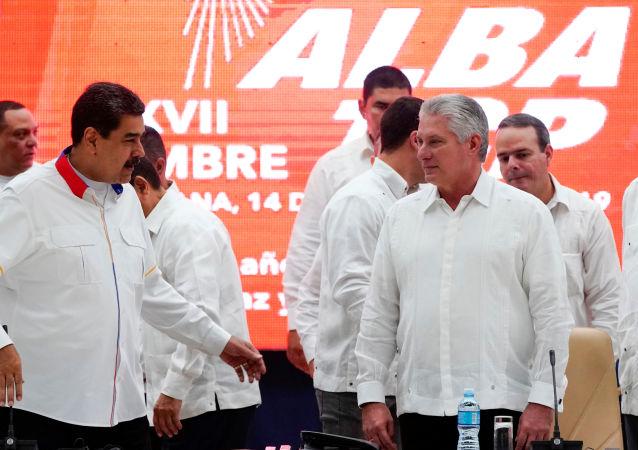 El presidente de Venezuela, Nicolás Maduro junto al presidente de Cuba, Miguel Díaz-Canel