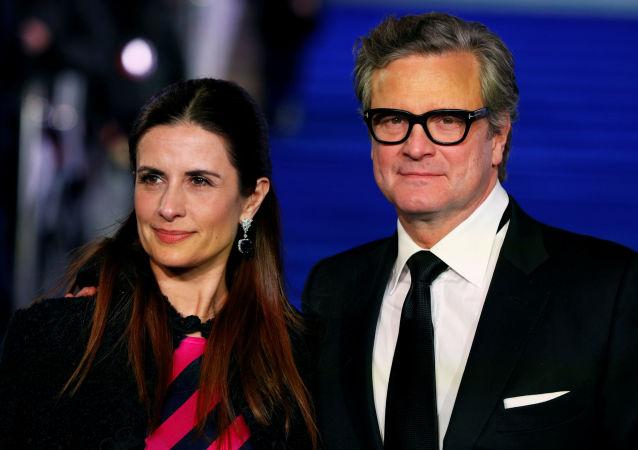 El actor británico Colin Firth con su esposa Livia Giuggioli