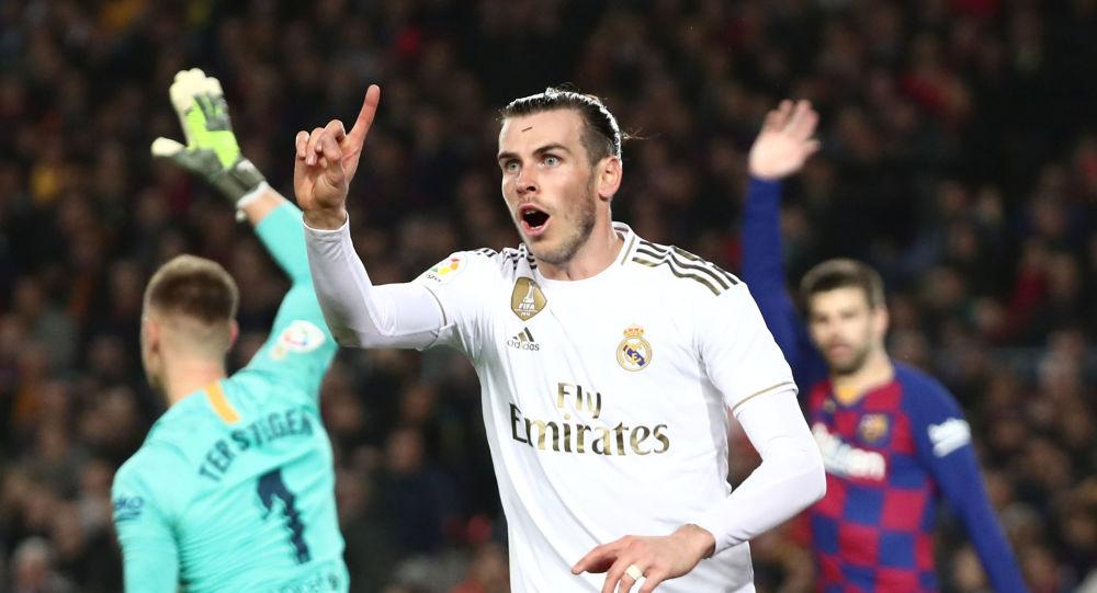Gareth Bale, delantero del Real Madrid, tras marcar un gol de fuera de juego contra el Barcelona en el Camp Nou, el 18 de diciembre de 2019