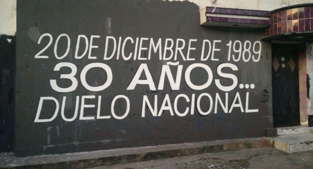 Duelo nacional - mural sobre los 30 años de la invasión de EEUU a Panamá