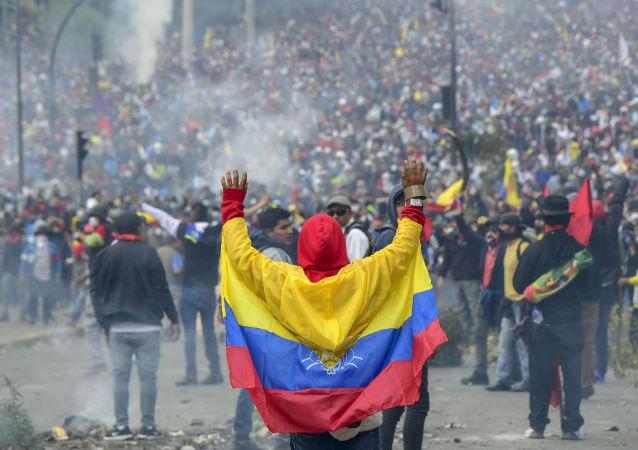 Protestas en Quito contra las medidas económicas del presidente Lenín Moreno, el 8 de octubre de 2019