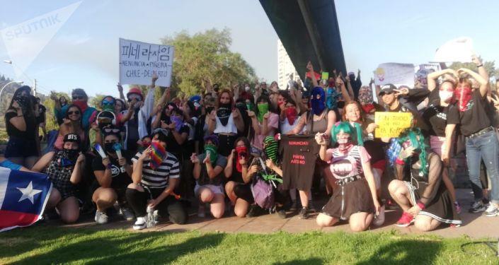 Manifestantes chilenos