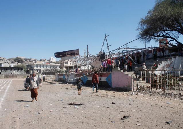 El lugar de la explosión en Yemen