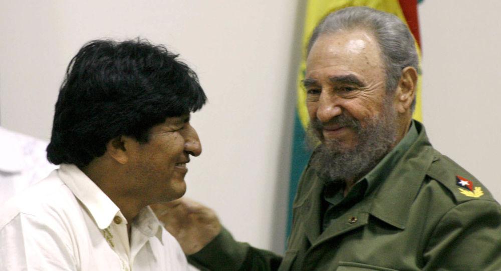 Evo Morales junto a Fidel Castro en La Habana en abril de 2006