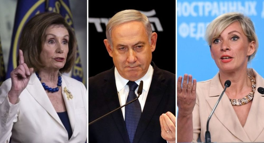 Nancy Pelosi, presidenta de la Cámara de Representantes de EEUU; Benjamín Netanyahu, primer ministro israelí; María Zajárova, portavoz del Ministerio de Exteriores de Rusia