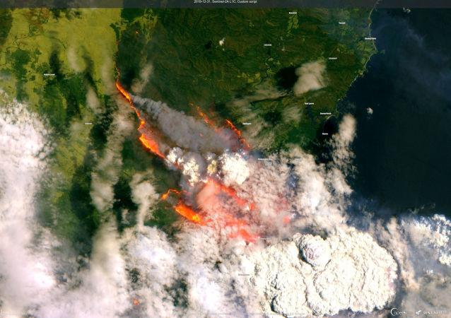 Una vista satelital de los incendios en Australia