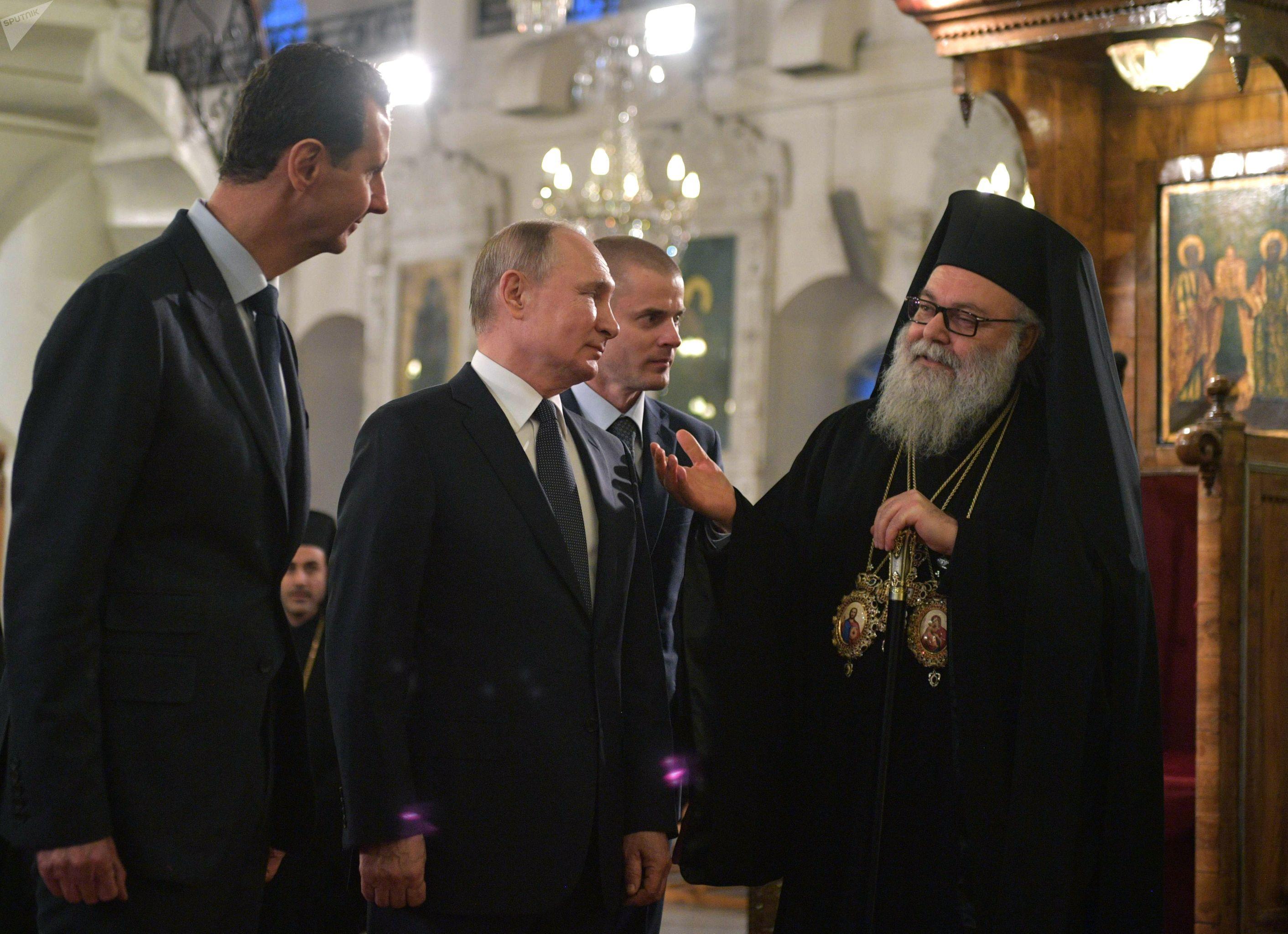 Putin y el Asad con el patriarca Juan X