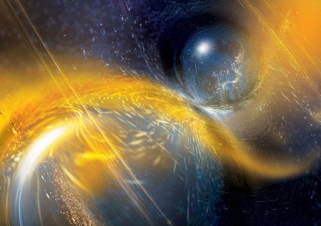 Colisión de dos estrellas de neutrones (ilustración artística)