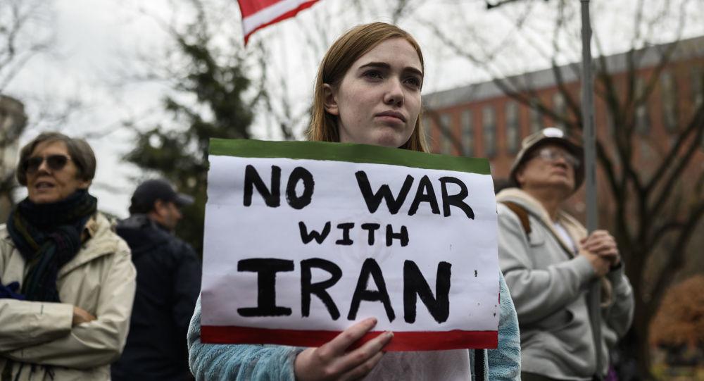 Los participantes de una manifestación parecida, celebrada frente a la Casa Blanca en Washington tras el asesinato de Qasem Soleimani