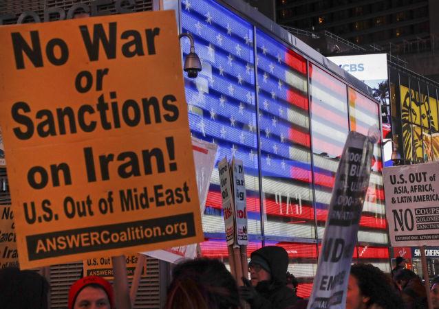 Protestas contra guerra y sanciones contra Irán en Nueva York, EEUU